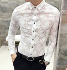 Men's Lace See Through Sexy Casual Shirt Button Long Sleeve Stylish Floral Tops
