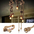 E27 Base Pendant light Fittings Hemp Rope Ceiling lamp Loft Vintage Chandelier