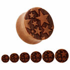 WOODEN STARS Ear Plugs Stretchers Jewellery Saddle Flared Tunnel Timber PL149