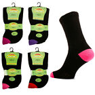 6 Ladies EXTRA WIDE Cotton Rich DIABETIC Loose Wider Top Socks / SE087 / UK 4-8