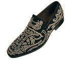 NEW Mens Black Gold Real Suede Slip on Loafers Gold Studded design. Very Nice!
