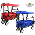 Collapsible Folding Wagon Garden Beach Utility Cart Toy Sport Buggy + Canopy