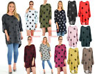Womens Ladies Star Print Loose Fit Batwing Baggy Hi Lo Long Knitted Jumper Top