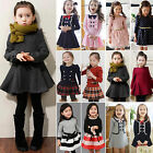 Toddler Kids Girls Dress Princess Party Long Sleeve Tutu Skater Dresses Skirts