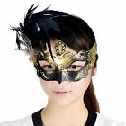 Women Feathers Ball Painted Mardi Gras Masquerade Halloween Eye Mask