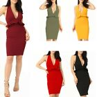 Womens Ladies Deep V Neck Frill Details Stretchy T Bar Back Bodycon Crepe Dress