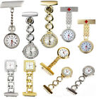 Stainless Steel Crystal Nurse Pendant Pocket Watch Brooch Fob Clip-on Quartz Pin
