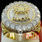 Mens 10K Yellow Gold Silver Lab Diamond Cancer Crab Zodiac Astrology Pinky Ring