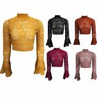 Womens Ladies Floral Lace Turtle Neck Long Bell Sleeves Cut Out Back Crop Top