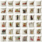 "18"" Xmas Dog Cotton Linen Pillow Case Sofa Cushion Cover Throw Home Decor Gift"