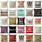 Letters Quote Words Pillowcase Cotton Linen Sofa Waist Cushion Cover Home Decor  image