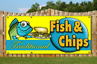 FISH AND CHIPS PVC BANNERS - PRINTED OUTDOOR SIGN FOOD TAKE AWAY