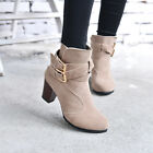 Hot Women Fashion Winter Casual Low Heel Ankle Belt Buckle Martin Boots Shoes