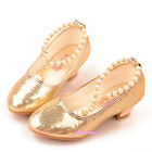 New Fall Winter Kids Young Girls Beads Bright High Heels Shoes Dress Dance Party