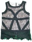 Adrianna Papell Gold Standard Black Pink Lace Sleeveless Back Zipper Blouse NWT