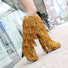 Retro Fashion Tassel Womens 5Layer Fringe Faux Suede Knee High Boot Pull On Shoe
