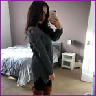 Jumper Dress Knitted Lace up Sleeve Sexy Ribbed Womens Ladies Size New ❤