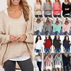 Womens Batwing Long Sleeve Knitted Sweater Ladies Jumper Pullover Blouse T Shirt