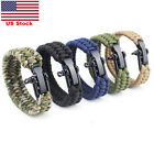 US Paracord Parachute Rope Bracelet Wristband Survival Hiking Climbing Outdoor