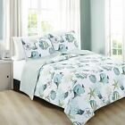 Twin Full Queen King Bed Blue Green White Beach Coral Fish Shells 3 pc Quilt Set