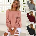 Women Off Shoulder Elastic Ruched Batwing Long Sleeve Solid Knitted TXSU