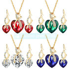 Women's Jewelry Set Bridal Wedding Heart Crystal Rhinestone Necklace Earrings