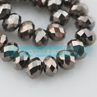 3/6/8/10mm Faceted Rondelle Glass Loose Beads Jewelry Findings Gun Black