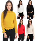Womens Ruffle Frill Edge Chunky Knitted Turtle Neck Fishnet Crop Jumper Top 8-14