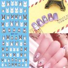 Water Decals Animal Cat Dog Bunny Rabbit Theme Nail Art Transfer Stickers Tips
