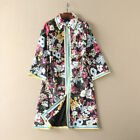 18 new Occident fashion jacquard lapel Modern Vintage Printed trench coat SMLXL