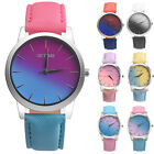 Fashion Women Girls Retro Rainbow Leather Band Ladies Analog Quartz Wrist Watch