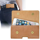iPhone 8 Plus Ultrathin Genuine Leather Belt Waist Bag Magnetic Closure Pouch