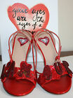 $1675 NIB VALENTINO LOVE CRYSTAL L'AMORE RED SANDALS SHOES HEELS NEW 38 US 8