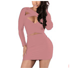 Autumn Winter women's dress sexy hollow out long sleeve pure colour dress DR205
