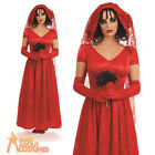 Ladies Day Of The Dead Corpse Bride Costume Halloween Womens Fancy Dress Long