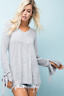 Comfy Gray V-Neck Tunic Top w/ Unique Long Flared Sleeves & Ribbon Ties