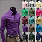 Mens Blouse Korean Style Candy Colors Slim Shirts Fomal  Long Sleeve Classic
