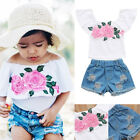 Fashion Kids Baby Girls Floral Top Short Ripped Jeans Pants Outfits Set Clothes