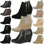 WOMENS ANKLE BOOTS LADIES SHOES PUMPS OFFICE WORK CASUAL HIGH TOP HEEL WEDGE NEW