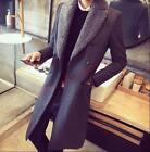 Men Wool Blend Coats Double Breasted Mid Long Military Blazer Collar Outwear cHZ