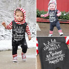 Fashion Christmas Baby Girls Boys Long Sleeve Hooded Romper Outfits Clothes USA