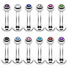 Labret Lip Bar Monroe Tragus Stud Helix Nose Lip Stud Ring Gem Balls 1.2mm