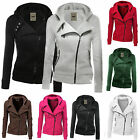 Womens Winter Warm Plain Hooded Slim Coat Jacket Casual Zipper Sportwear Outwear