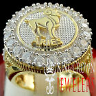 Mens 10K Gold Silver Lab Diamond Aries Ram Lucky Zodiac Designer Pinky Ring Band