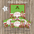 SANTA GIRL GREEN STARS CHRISTMAS PERSONALISED CHOCOLATE WRAPPERS X 10