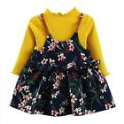 2PCS Newborn Kid Baby Girl T-shirt Sweater Tops+ Floral Dress Outfit Clothes Set