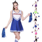 Costume Complet Robe Debardeur Uniforme Pom-Pom Girl Cheerleader 2 Pompon XS-2XL