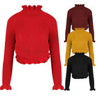 New Womens Frill Polo High Neck Cable Knit Chunky Crop Jumper Sweater Top