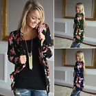 Women Irregular Open Front Cardigan Casual Floral Printed Wrap Coat Top Outwear