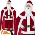 Deluxe Santa Claus Costume + Cape Father Christmas Mens Xmas Fancy Dress Outfit